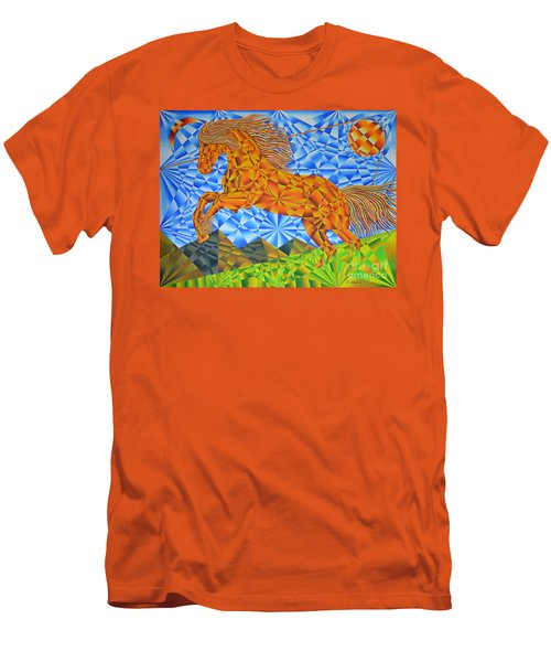 Men's T-Shirt (Slim Fit) featuring the painting Golden Horse Over The Bitterroot's by Joseph J Stevens