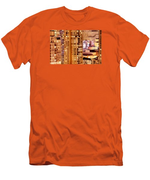 Men's T-Shirt (Slim Fit) featuring the photograph Golden Vancouver Cityscape Cdxii By Amyn Nasser by Amyn Nasser