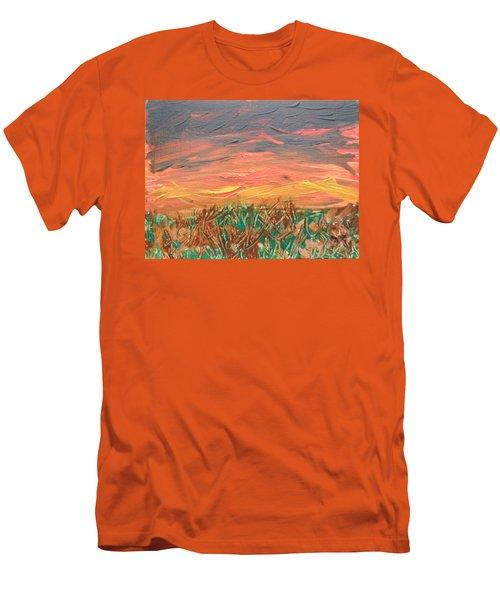Grassland Sunset Men's T-Shirt (Slim Fit) by David Trotter
