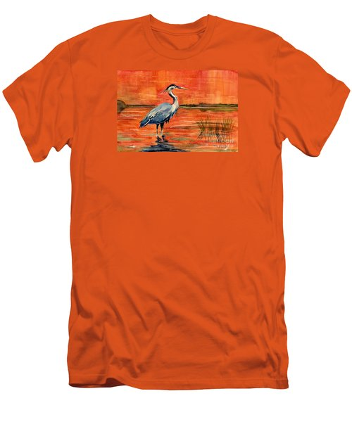 Great Blue Heron In Marsh Men's T-Shirt (Slim Fit) by Melly Terpening
