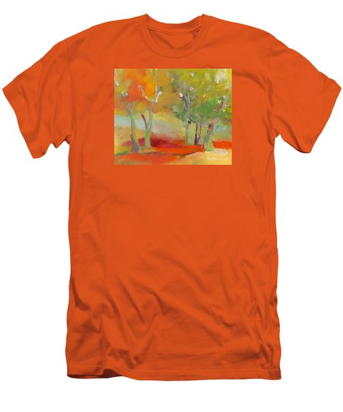 Men's T-Shirt (Slim Fit) featuring the painting Green Trees by Michelle Abrams