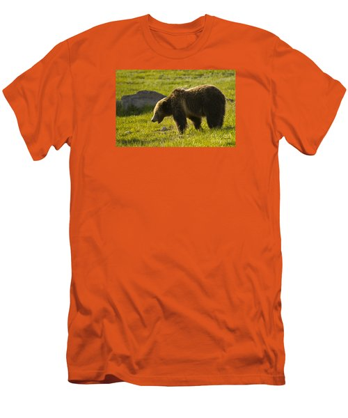 Men's T-Shirt (Slim Fit) featuring the photograph Grizzly Bear-signed-#4535 by J L Woody Wooden