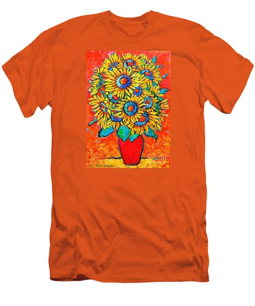 Happy Sunflowers Men's T-Shirt (Slim Fit) by Ana Maria Edulescu