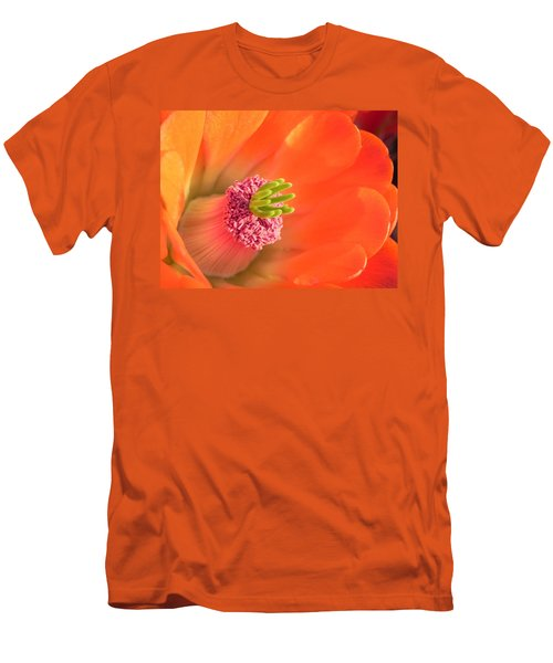 Men's T-Shirt (Slim Fit) featuring the photograph Hedgehog Cactus Flower by Deb Halloran