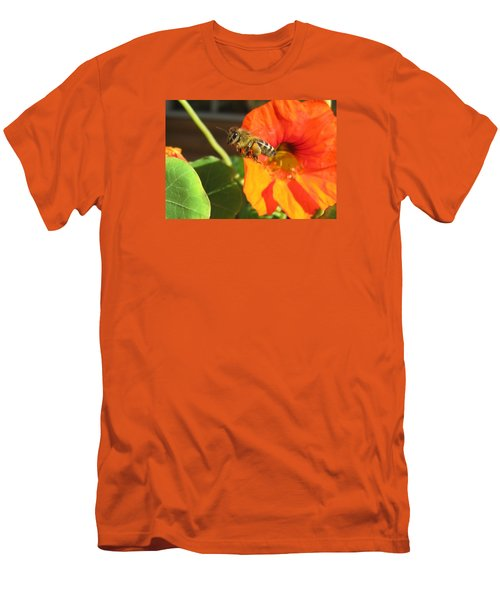 Honeybee Leaving Nasturtium With A Full Pollen Basket Men's T-Shirt (Athletic Fit)