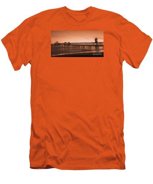 Huntington Beach Pier - Twilight Sepia Men's T-Shirt (Athletic Fit)