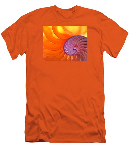 Illuminated Translucent Nautilus Shell With Spiral Men's T-Shirt (Slim Fit) by Phil Cardamone