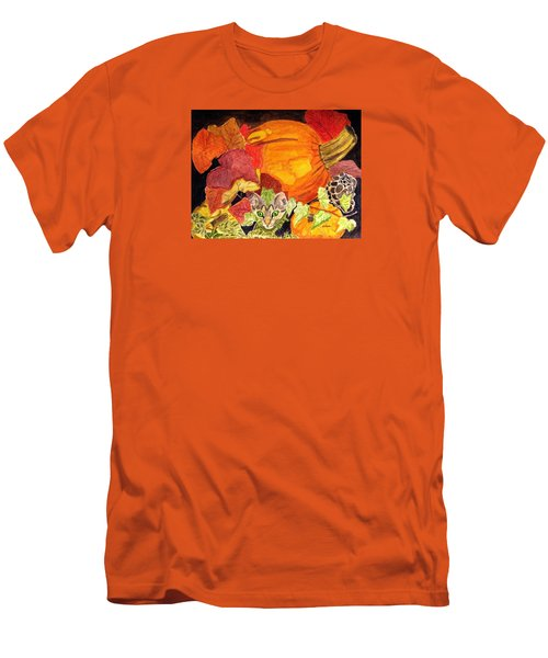 Men's T-Shirt (Slim Fit) featuring the painting I'm Hiding In The Pumpkin Patch by Angela Davies