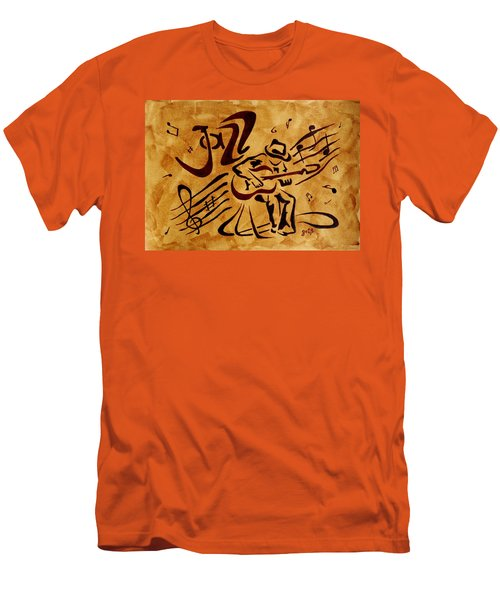Men's T-Shirt (Athletic Fit) featuring the painting Jazz Abstract Coffee Painting by Georgeta  Blanaru