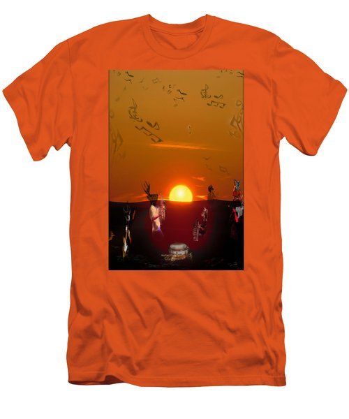 Men's T-Shirt (Slim Fit) featuring the digital art Jazz Fest by Cathy Anderson