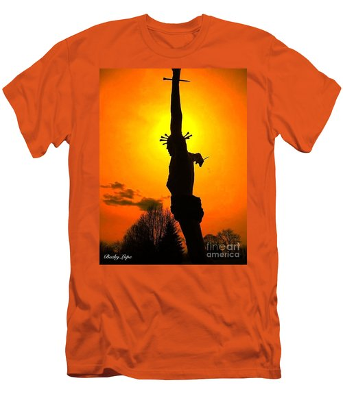 Jesus In Sunset 1 Hope Men's T-Shirt (Slim Fit) by Becky Lupe