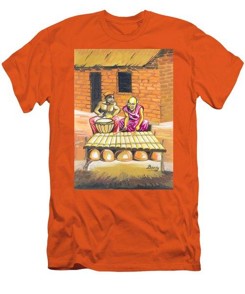 Men's T-Shirt (Slim Fit) featuring the painting Joueurs De Balafon Et De Tam Tam by Emmanuel Baliyanga