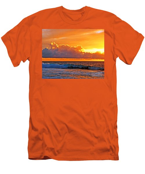 Men's T-Shirt (Slim Fit) featuring the photograph Kona Golden Sunset by David Lawson