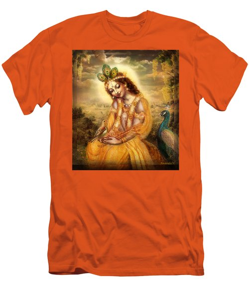 Krishna With The Peacock Detail Men's T-Shirt (Slim Fit) by Ananda Vdovic