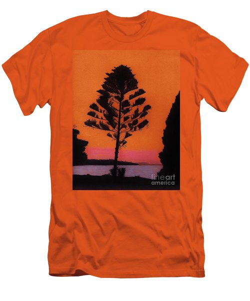 Men's T-Shirt (Slim Fit) featuring the drawing Lake Sunset by D Hackett