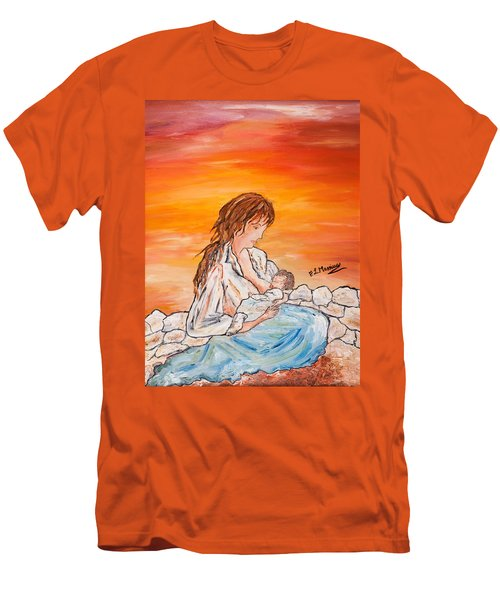 Men's T-Shirt (Slim Fit) featuring the painting Legame Continuo by Loredana Messina
