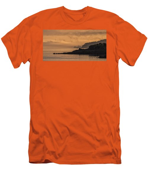 Men's T-Shirt (Slim Fit) featuring the photograph Lifting Fog At Sunrise On Campobello Coastline by Marty Saccone