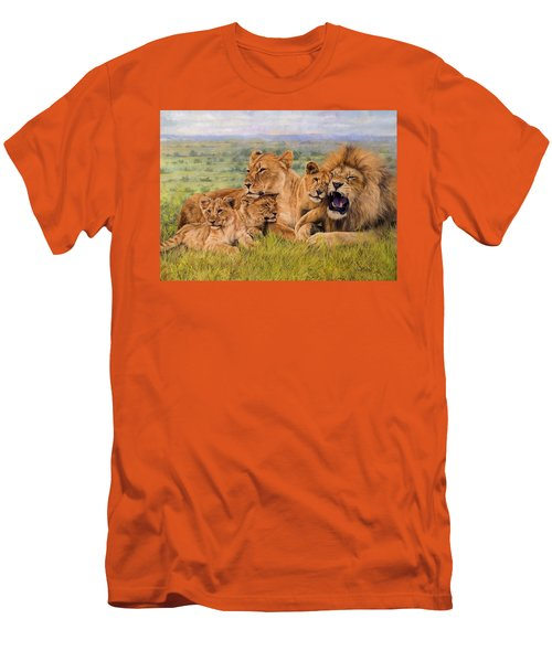 Lion Family Men's T-Shirt (Slim Fit) by David Stribbling