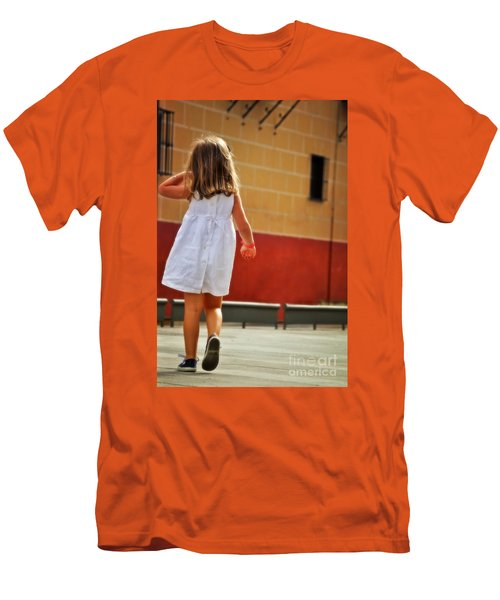 Little Girl In White Dress Men's T-Shirt (Athletic Fit)