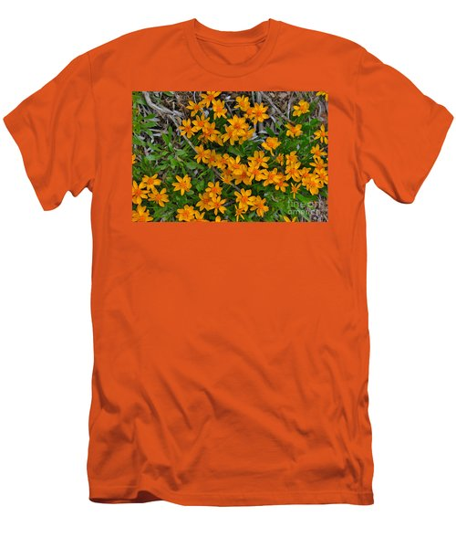 Men's T-Shirt (Slim Fit) featuring the photograph Little Sunflower In The Mountains by Janice Rae Pariza