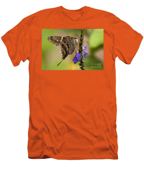 Men's T-Shirt (Slim Fit) featuring the photograph Long-tailed Skipper Photo by Meg Rousher