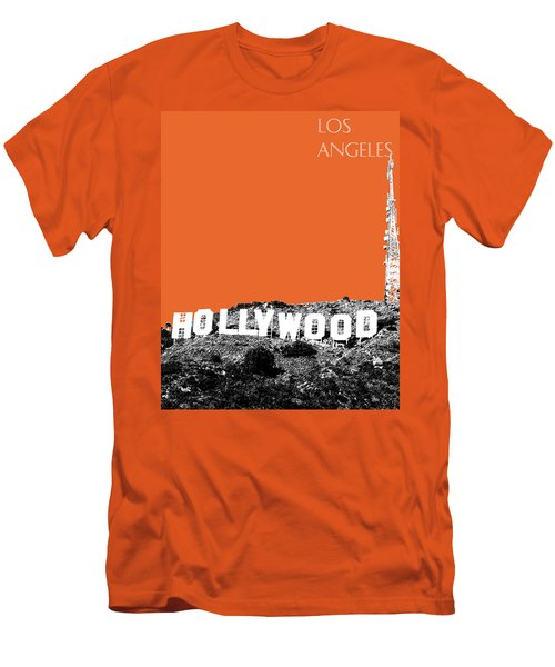 Los Angeles Skyline Hollywood - Coral Men's T-Shirt (Athletic Fit)