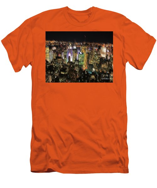 Men's T-Shirt (Slim Fit) featuring the photograph Manhattan Skyline Empire State Wobbles by Andy Prendy
