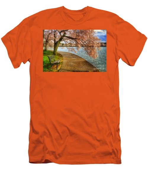 Meet Me At Our Bench Men's T-Shirt (Slim Fit) by Lois Bryan