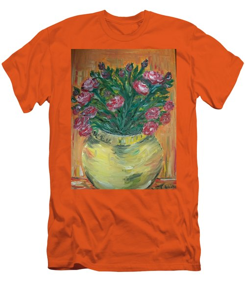 Men's T-Shirt (Slim Fit) featuring the painting Mini Roses by Teresa White