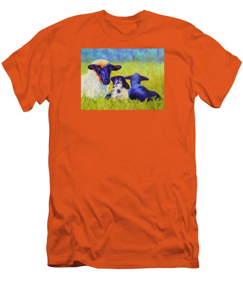 Men's T-Shirt (Slim Fit) featuring the painting Mom And The Kids by Nancy Jolley