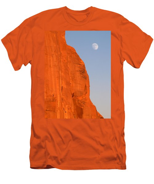 Moon At Monument Valley Men's T-Shirt (Slim Fit) by Jeff Brunton