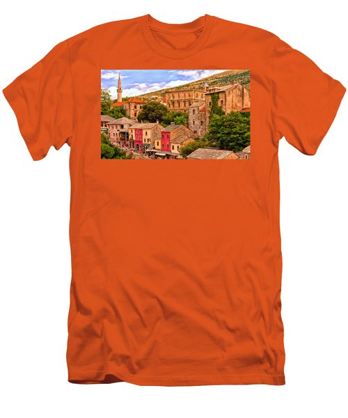 Men's T-Shirt (Slim Fit) featuring the painting Mostar by Michael Pickett