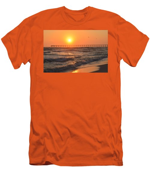 Navarre Beach And Pier Sunset Colors With Birds And Waves Men's T-Shirt (Slim Fit) by Jeff at JSJ Photography
