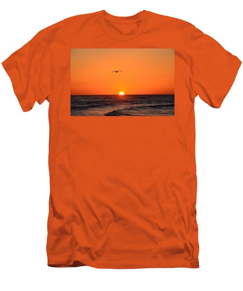 Navarre Beach Sunrise Waves And Bird Men's T-Shirt (Slim Fit) by Jeff at JSJ Photography