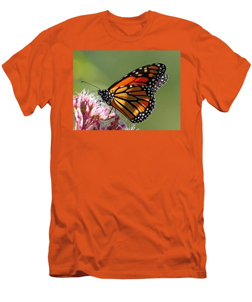 Men's T-Shirt (Slim Fit) featuring the photograph Nectaring Monarch Butterfly by Debbie Oppermann