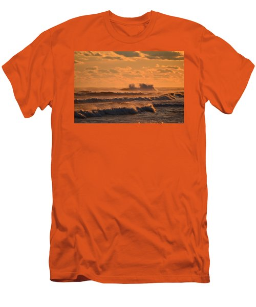Opal Beach Sunset Colors With Huge Waves Men's T-Shirt (Slim Fit) by Jeff at JSJ Photography