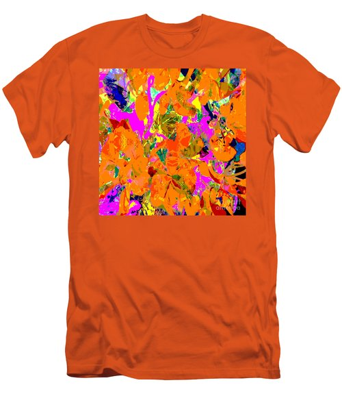 Orange Abstract Men's T-Shirt (Slim Fit) by Barbara Moignard