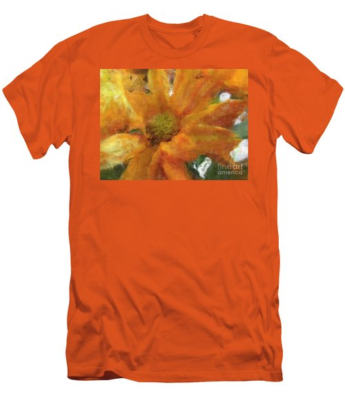 Orange Chrysanthemem Photoart Men's T-Shirt (Slim Fit) by Debbie Portwood