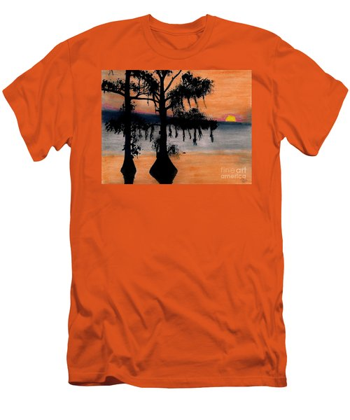 Men's T-Shirt (Slim Fit) featuring the drawing Orange Cypress Sunset by D Hackett
