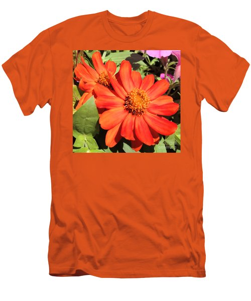 Orange Daisy In Summer Men's T-Shirt (Slim Fit) by Luther Fine Art