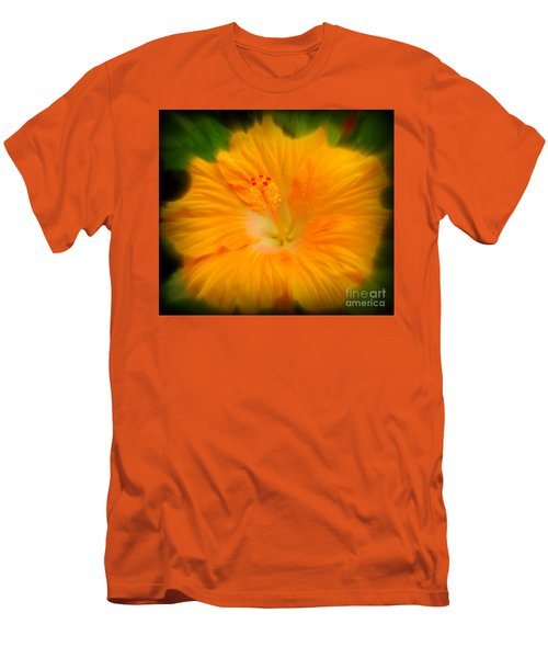 Men's T-Shirt (Slim Fit) featuring the photograph Orange Hibiscus Flower by Clare Bevan