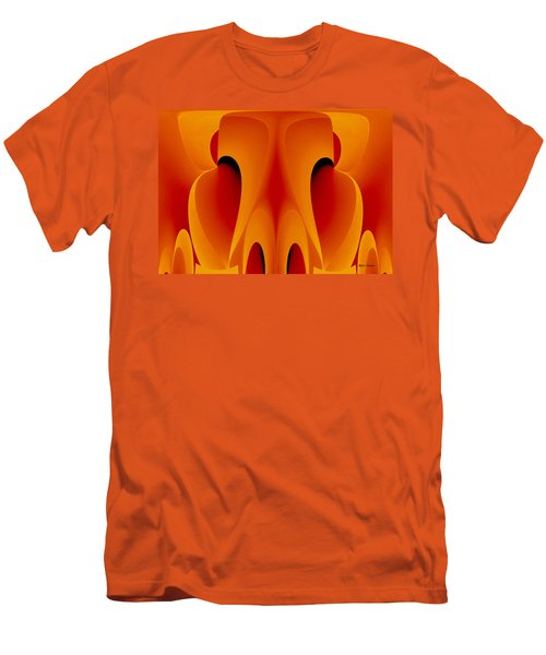 Men's T-Shirt (Slim Fit) featuring the mixed media Orange Mask by Rafael Salazar