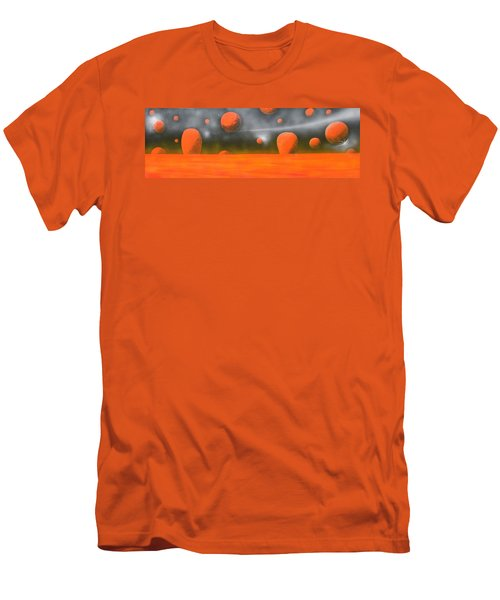 Men's T-Shirt (Slim Fit) featuring the painting Orange Planet by Tim Mullaney