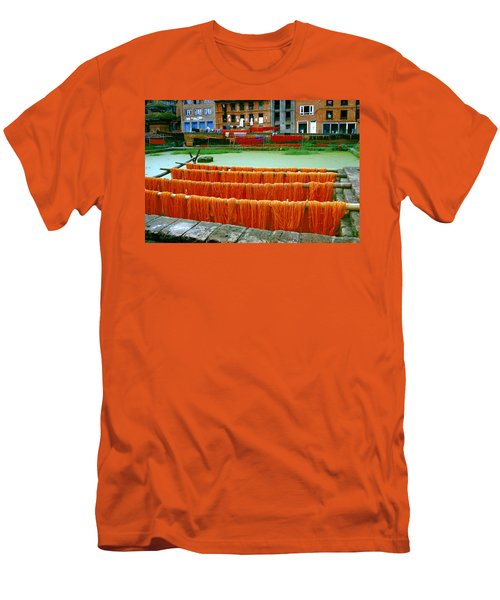 Orange Yarn Men's T-Shirt (Athletic Fit)