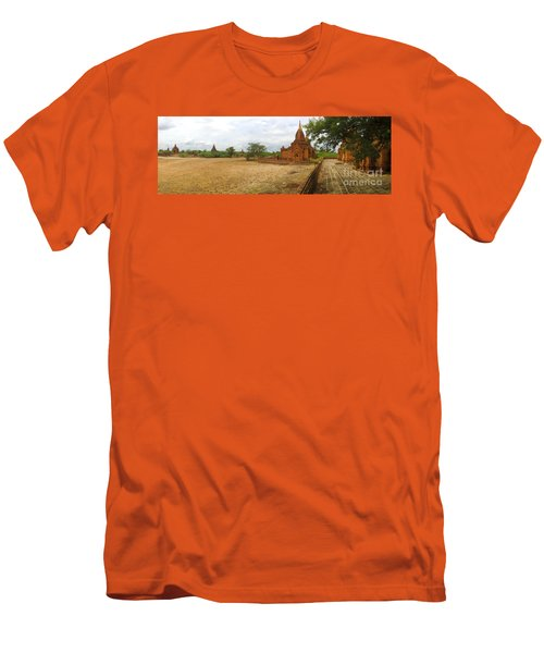 Men's T-Shirt (Slim Fit) featuring the photograph Panoramic View Next To Dhammayazika Pagoda Built In 1196 By King Narapatisithu by Ralph A  Ledergerber-Photography