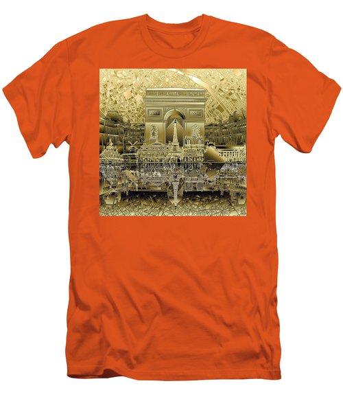 Paris Skyline Landmarks 4 Men's T-Shirt (Slim Fit)