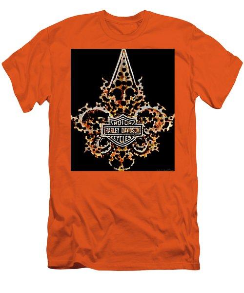 Men's T-Shirt (Slim Fit) featuring the digital art Perforated Fleurs De Lys With Harley Davidson Logo by Danielle  Parent