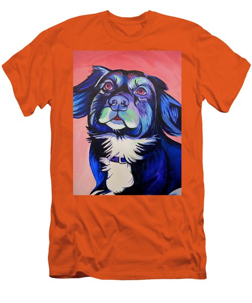 Men's T-Shirt (Slim Fit) featuring the painting Pink And Blue Dog by Joshua Morton