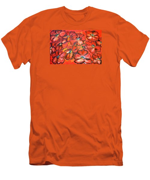 Men's T-Shirt (Slim Fit) featuring the painting Plaisir Rouge by Ramona Matei