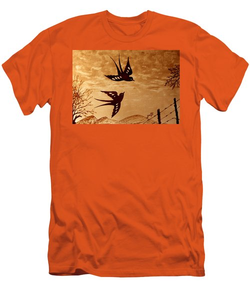 Men's T-Shirt (Athletic Fit) featuring the painting Playful Swallows Original Coffee Painting by Georgeta  Blanaru